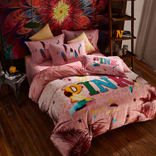 Designer bedding flannel fabric-for-bed-sheet+pillowcase+duvet cover bedding set queen size vs pink home textile sheets linens