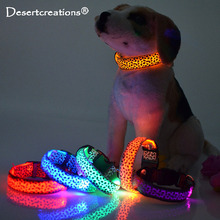 Leopard LED Pet Dog Collar Night Safety Flashing Glowing Collar Leash For Dogs Luminous Fluorescent Anti-lost Leads Pet Supplies