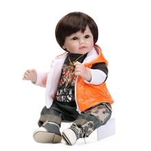 "20"" doll reborn boy toys cloth body silicone baby dolls for children toys gift bebe real reborn brinquedo menino"