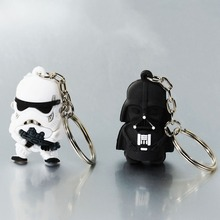Doreen Box New Star War Silver Tone Soldier Warrior Pendant Round Iron Key Chains White Black 1 PC(China)