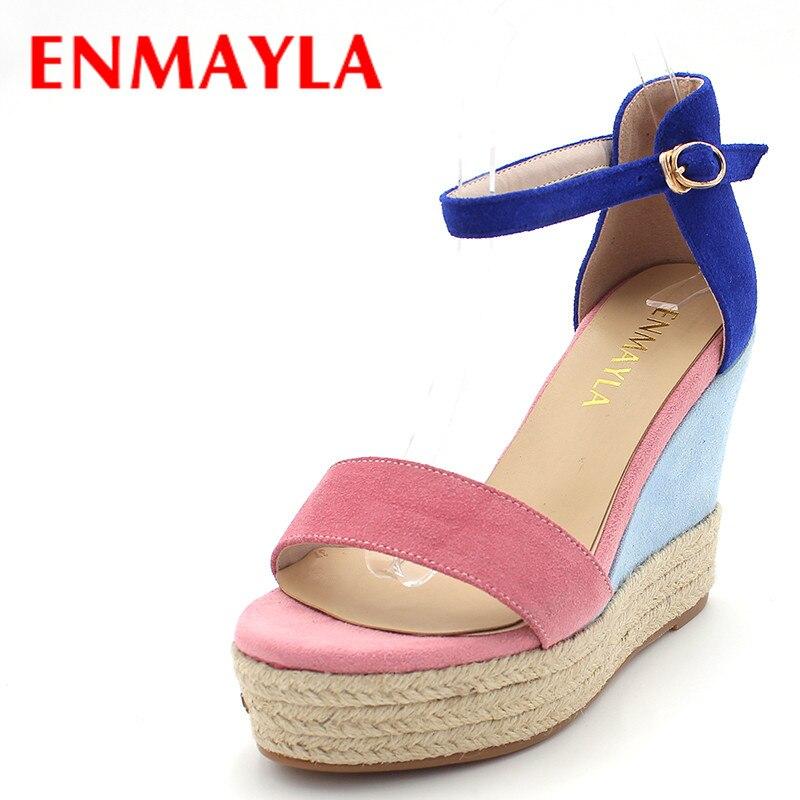 ENMAYLA Women High Heels Platform Sandals Summer Shoes Woman Elegant Wedges Sandals T-Strap Flock Mixed Colors Ladies Shoes<br>