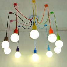 Edison Retro Spider Chandelier Lighting Colorful Pendant Lamp 3 to 12 Head Multi-colored Silicone E27 For Bar Restaurant Bedroom