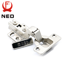 Brand NED Self Elasti Half Overlay Hinge Cupboard Cabinet Kitchen Door Hinge 35mm Cup Special Spring Hinge For Home Hardware(China)