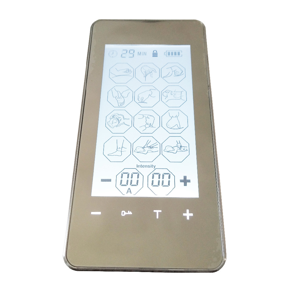 New Electric Tens Digital Therapy Massager Touch Screen Smart Pulse Acupuncture Machine With Conductive Electrode Kneepad <br>