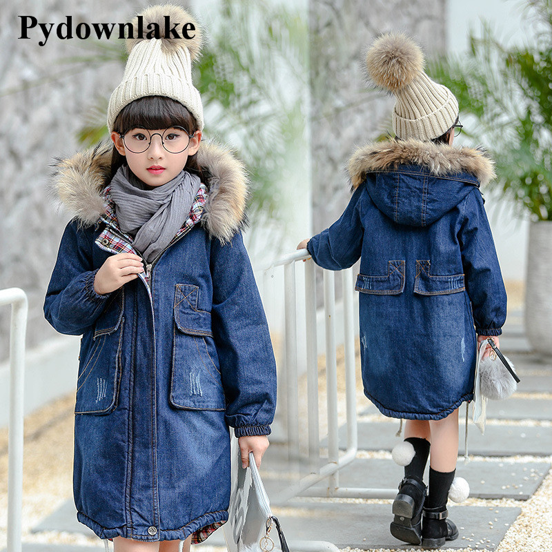 Pydownlake Trendy Big Teens Girls Denim Outerwear Children Winter Hooded Coats Kids Warm Jeans Jacket Girls Thick Long Clothes<br>