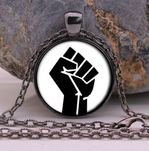 Black Panther Party New Fashion Necklace Black Pendant And Chain gifts glass Necklace Pendant Sweater Chain Gift