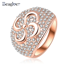 Beagloer European Style Flower Pattern Exaggerated Ring Unique Rose Gold Color Austrian Crystal Women Rings 23*17mm Ri-HQ0208(China)