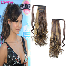 "26""Body Wave Wavy Ombre Hair Extension Ponytail High Tempereature Fiber Clip Natural Hair Blond Red Brown Ponytail Free Shipping"
