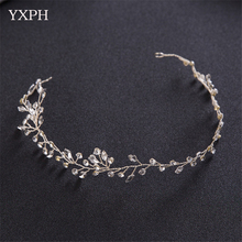 YXPH Newest Hot Sale Crystal Glass Crown Woman Hair Jewelry Bridal Hairwear Silver Pearl Beads Bride Wedding Accessories Handmad