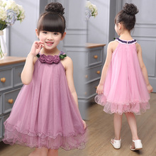 Kids Dresses For Girls Good Quality Children Clothing Summer 2016 Solid Lace Girls Party Dresses Sleeveless O-Neck Kids Clothes