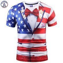Mr.1991INC New Fashion T-shirt Men/Women Fake Two Pieces 3D T-shirt Print USA Flag Suit Jacket Tees Summer Tops T shirt