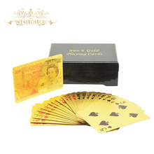 High Quality Gold playing cards 999.9 Color Uk 50 Pounds 24 Carat Gold Playing Cards With Wood Box