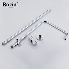 Wall Mounted Brass & ABS Chrome Sliding Bar Shower Pipe & Shower Head Holder Bathroom Adjust Height Faucet Pipe(China)