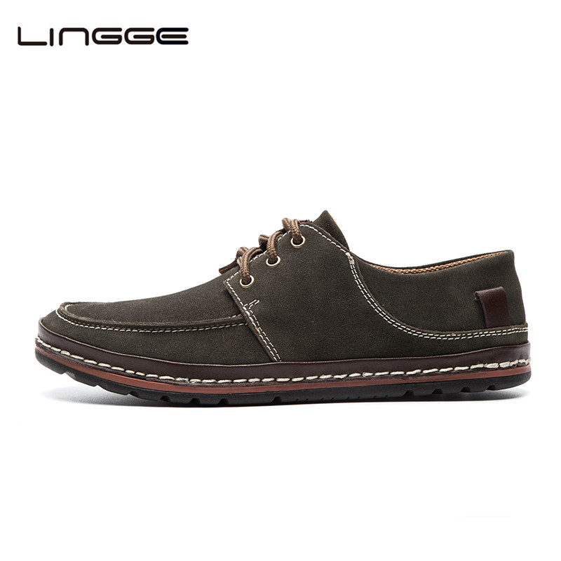LINGGE Mens Casual Shoes Suede Leather Mens Flats Brand New Loafers Leather Moccasins #5331-1/2<br>