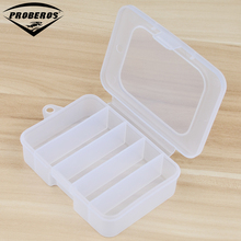 Simple 5 Compartment Plastic Fishing Tackle Box for Fishing Lures 10.7*7.5*3cm Transparent Hooks Spoons Fishing Tool Accessaries