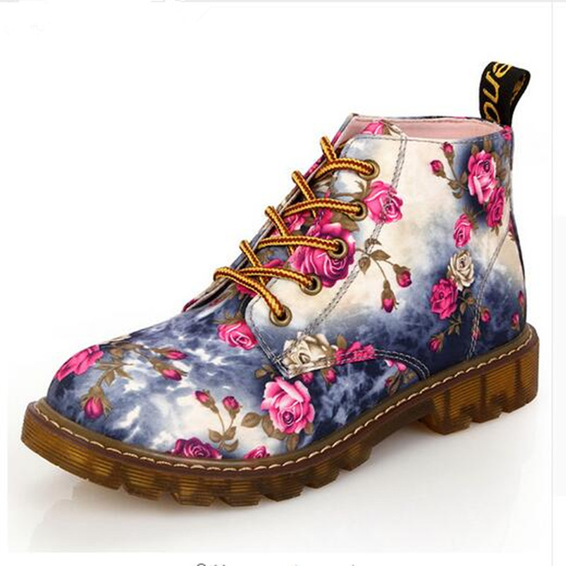 Fashion Women Boots Floral Printed Martin Boots Soft Sole Ankle Boots Lace up Platform Shoes Woman<br><br>Aliexpress