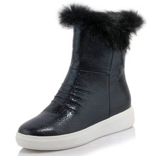 Size 34-40 New women's winter fur edges printing paper with flat and round within the higher calf boots WJ146