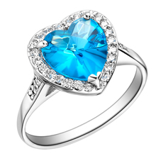 High Quality Baby Blue Zircon With White Crystal 925 Sterling Silver Jewelry Wedding Heart Ring For Women Size 6/7/8/9 SCJ074(China)