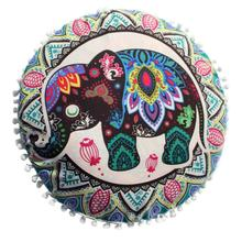 South Asia Elephant Mandala pillow cover Round 43cm indian flower cushion case Small floor pillow slip covers Drape drop ship