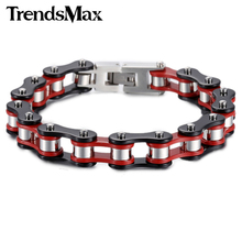 Trendsmax 12mm Wide Biker Motorcycle Link Red Yellow Black Silver Color 316L Stainless Steel Bracelet Mens Chain Wholesale HBM58