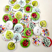 Hot 50pcs 2 Holes Mixed Craft DIY Colorful Rural System Wooden Cat Buttons Printing Buttons 2017(China)
