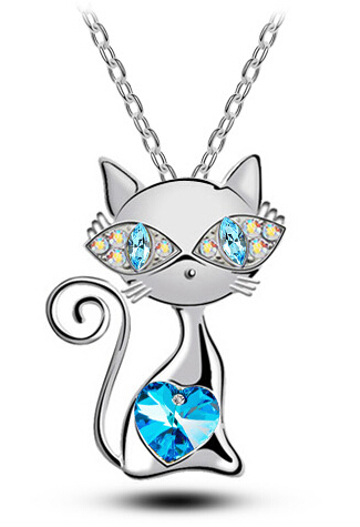 free shipping Valentines Day party top quality AAAA+ rhinestones crystal cat catty Pendant Necklace silver-color fashion Jewelry(China (Mainland))
