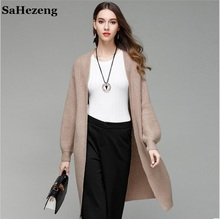 SaHezeng Elegant Ladies Long Sweaters Cardigans 2017 Autumn Fashion Casual Loose Women Outerwear Open Stitch Flat Knitted M13-2