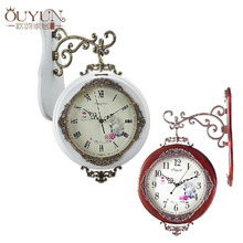 New arrive Free Shipping Solid Wood Clock European Rural Style Double Face Wall Clock Creative Clock Antique Wooden Wall Clock(China)