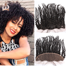 "8A Malaysian Virgin Hair Kinky Curly Lace Frontal Closure 13""*4"" Cheap Curly Full Lace Frontal Piece With Baby Hair Bleach Knots"