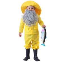 "Distinctive Toddler Fisherman Halloween Costume Story ""The Old Man and the Sea"" Character Dressing Up With Beard And Hat(China)"
