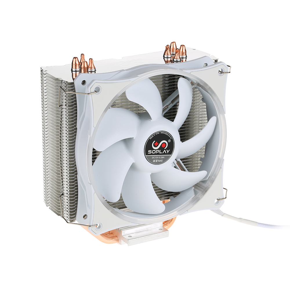 Original New 2017 SOPLAY for Intel AMD CPU Cooler LED light 120mm 4Pin 4 Heatpipes PC Computer Desktop PWM Sillence Cooling Fans<br>