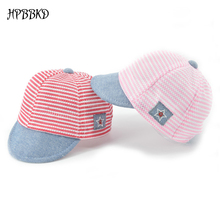HPBBKD Cotton Infant Baby Hats Cute Casual Striped Soft Eaves Kids Baseball Cap Baby Boy and Girls Sun Protect Hat Caps XH-031(China)