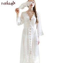 Sexy Summer V-Neck Bath robe Nightgown Sleepwear Dress Night Gown Nightdress Night Wear Women White Lace Nightgowns Women Q6(China)