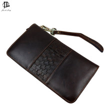 New Retro Trend Fashion Knitting Genuine Leather Men Casual Day Clutch Bag Zipper 8 Card Holder Wallet Purse Phone Bags