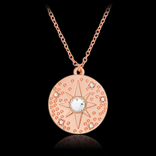 Starburst Hammered Mini Disk Necklace Crystal Rose Gold Star Round Pendant Necklace For Women Girl Fashion Jewelry Gift