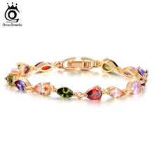 ORSA JEWELS Trendy Rose Gold-Color AAA Colorful Cubic Zircon Mona Lisa Bracelet for Women Birthday Gift OMB06(China)