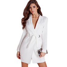 Women Sexy Clothes White Tunic Polo Collar Dress with Belt Long Sleeve Slim Blazer Dress OL Bodycon Mini Dresses Vestidos Ladies
