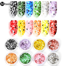 Mtssii 12 Colors Irregular Nail Sequin Powder Marble Powder Nail Flakes Paillette Candy Sand Frosting Powder Dust Nail Art Decor(China)