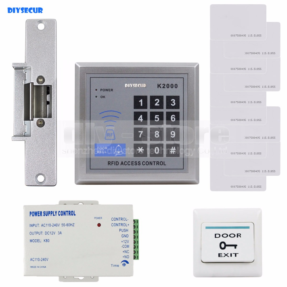 DIYSECUR RFID 125KHz Reader Access Control System Security Kit + Electric Strike Door Lock + Power Supply<br>