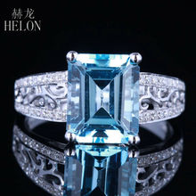 HELON Nouveau Fashion Real 14K White Gold 3.24ct Blue Topaz Emerald 10x8mm Pave 0.2ct Diamond Lady Ring Engagement Wedding Ring(China)