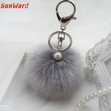 Faux Rabbit Fur Ball Keychain Charm Plush Car Keychains Handbag Key Ring key chain Delicate