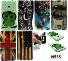 Retro tape Cartoon Owl USA UK flag ShockProof soft TPU Silicon Case Cover For Microsoft Nokia Lumia 535 With screen film