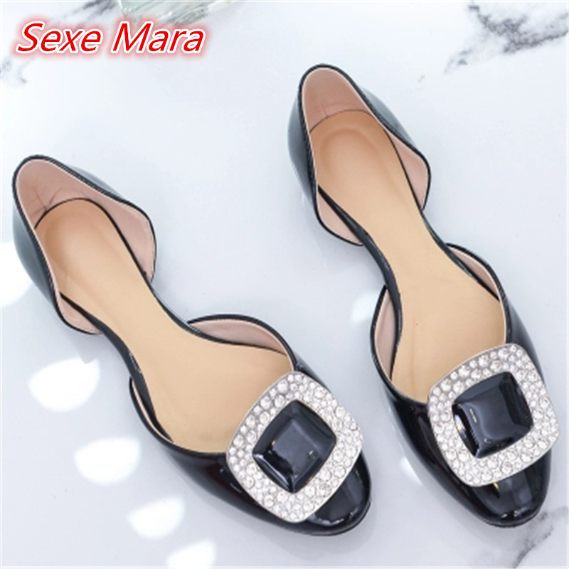 Brand zapatos mujer flat shoe comfortables female spring and summer diamond buckle with fashion shoes hollow single shoes woman<br>