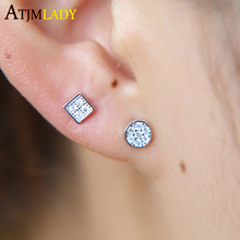 2017 new arrive simple tiny cute geometric shape pave cz small round square shape stud 925 sterling silver dainty earring(China)