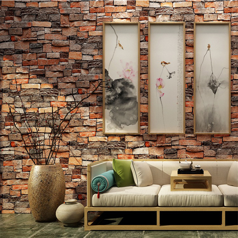 Beibehang Culture Stone Brick Wallpaper Retro Brick Wallpaper Cafe Bar Restaurant Shop White / cyan Brick Wallpaper papel mural<br>