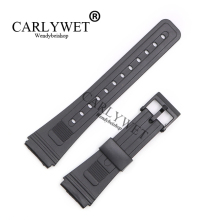 CARLYWET 20mm Men Lady Black Replacement Silicone Rubber Straight End watch band Strap Loop With Black Plastic Pin Buckle(China)