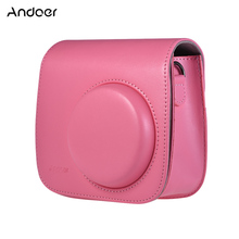 Andoer PU Instant Camera Bag Case with Strap for Fujifilm Instax Mini 8/9/8+ Flamingo Pink/Blue/White/Blue/ Green(China)