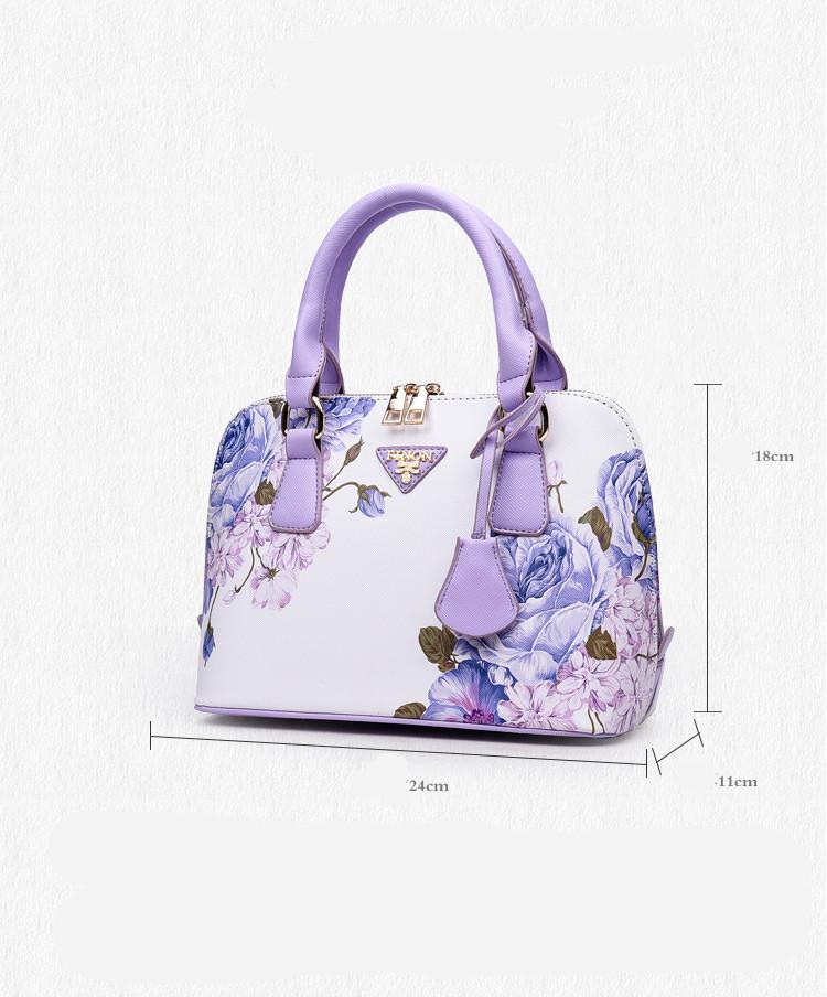 Flower Printed the fashion Purple handbags womens shoulder bag