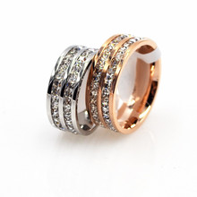 Luxury Famous Brand Jewelry Double Rows Square Crystal Wedding Ring IP Vacuum Plating Stainless Steel Love Rings Anel Masculino(China)