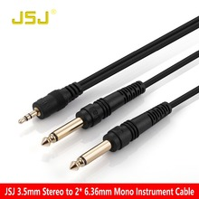 JSJ Pro audio Instrument Cable 3.5mm Stereo Male to 2*6.35 Mono Male Audio Cable for Mixer Amplifier